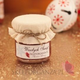 Świąteczny miód z aronią - personalizacja z dekoracją wieczka