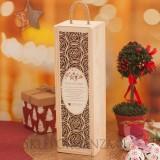 Drewniana skrzynka na alkohol RÓŻA - świąteczna personalizacja