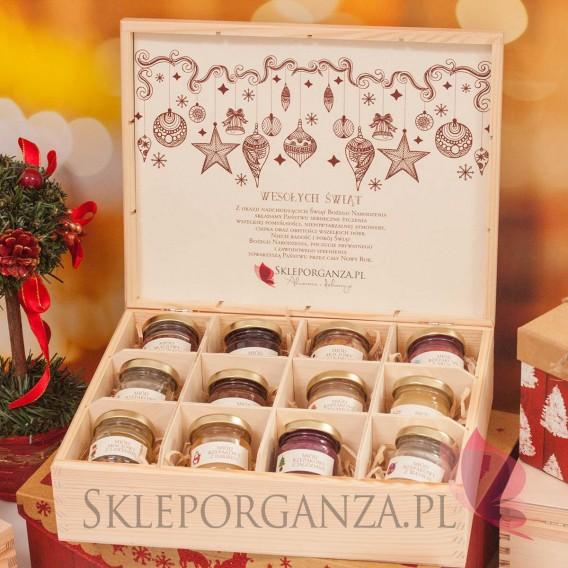 Upominki świąteczne Świąteczny zestaw miodów w szkatułce – ekskluzywny - personalizacja