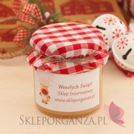 Upominki świąteczne Personalizowany miód wielokwiatowy z kratką DUŻY - personalizacja - ŚWIĘTA