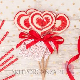 Lizaki weselne personalizowane Lizak duży serce czerwone - personalizacja - kolekcja LOVE