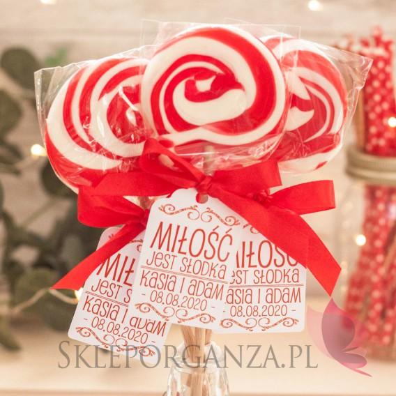 Lizaki weselne personalizowane Lizak okrągły czerwony - personalizacja - kolekcja LOVE