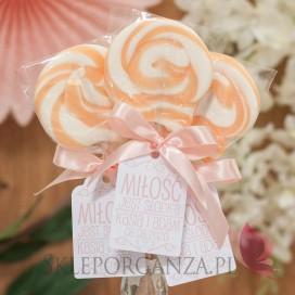 Lizaki weselne personalizowane Lizak okrągły brzoskwiniowy - personalizacja - kolekcja LOVE