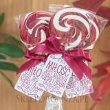 Lizak okrągły bordowy - personalizacja - kolekcja LOVE
