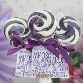 Lizaki weselne personalizowane Lizak okrągły fioletowy - personalizacja - kolekcja LOVE