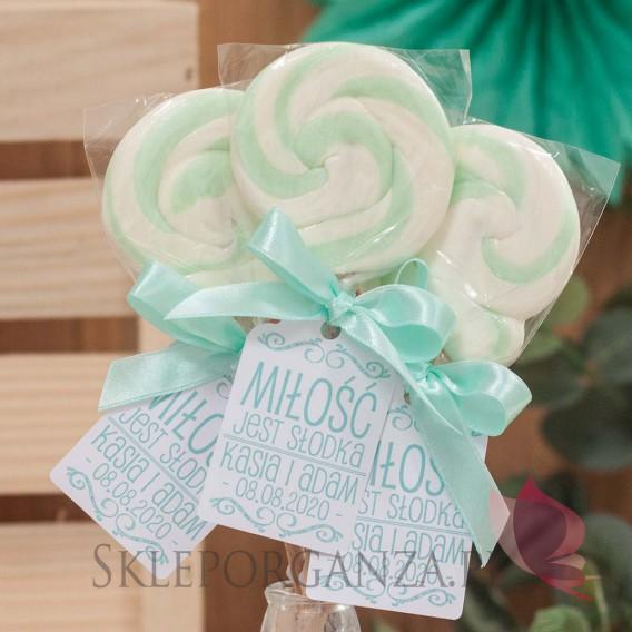 Lizaki weselne personalizowane Lizak okrągły mięta - personalizacja - kolekcja LOVE
