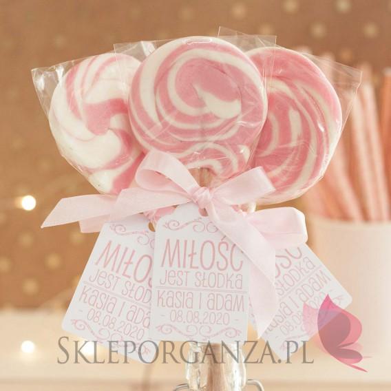 Lizaki weselne personalizowane Lizak okrągły różowy- personalizacja- kolekcja LOVE