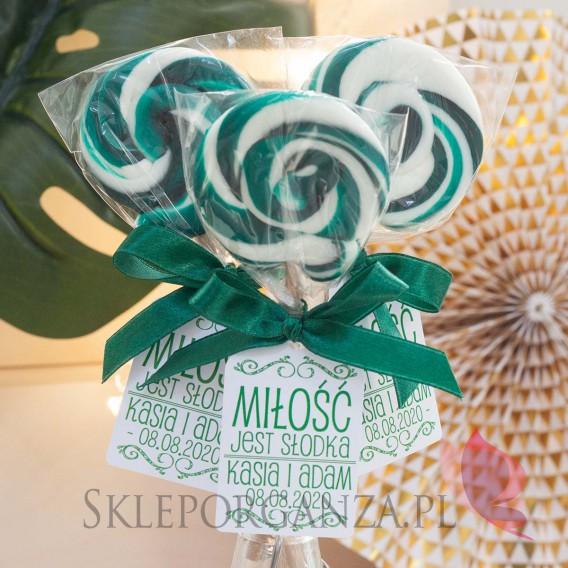 Lizaki weselne personalizowane Lizak okrągły ciemnozielony - personalizacja - kolekcja LOVE