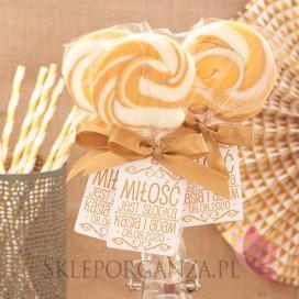 Lizaki weselne personalizowane Lizak okrągły złoty - personalizacja - kolekcja LOVE