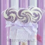 Lizaki weselne personalizowane Lizak okrągły liliowy - personalizacja - kolekcja LOVE