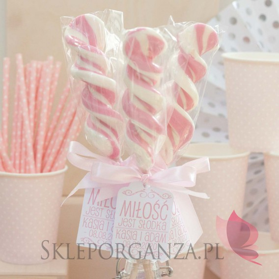 Lizaki weselne personalizowane Lizak duży świderek różowy - personalizacja - kolekcja LOVE