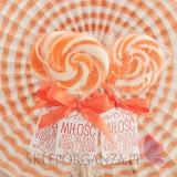 Lizaki weselne personalizowane Lizak okrągły pomarańczowy - personalizacja - kolekcja LOVE