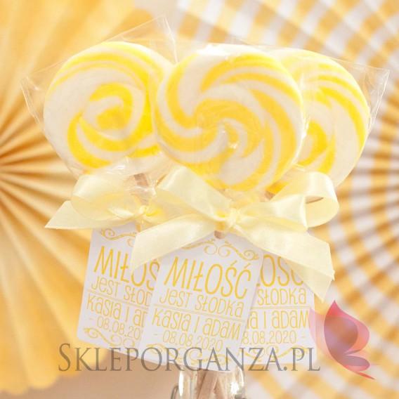 Lizaki weselne personalizowane Lizak okrągły żółty - personalizacja - kolekcja LOVE