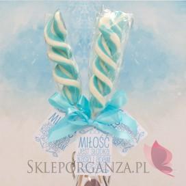 Lizaki weselne personalizowane Lizak duży świderek niebieski - personalizacja - kolekcja LOVE