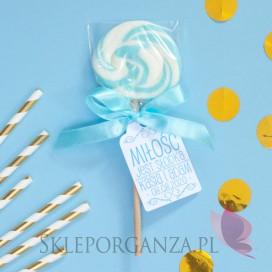 Lizaki weselne personalizowane Lizak okrągły niebieski - personalizacja - kolekcja LOVE