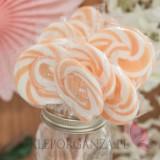 Kręcone lizaki na wesele Lizak okrągły brzoskwiniowy