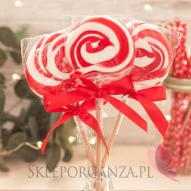 Kręcone lizaki na wesele Lizak okrągły czerwony
