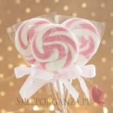 Kręcone lizaki na wesele Lizak okrągły różowy