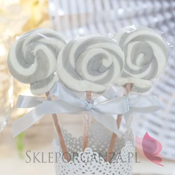 Kręcone lizaki na wesele Lizak okrągły szary