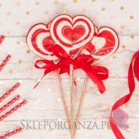 Kręcone lizaki na wesele Lizak duży SERCE czerwone