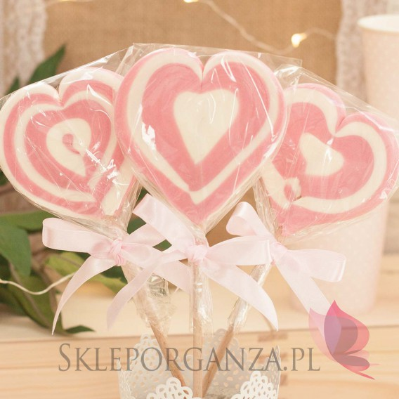 Kręcone lizaki na wesele Lizak duży SERCE różowe