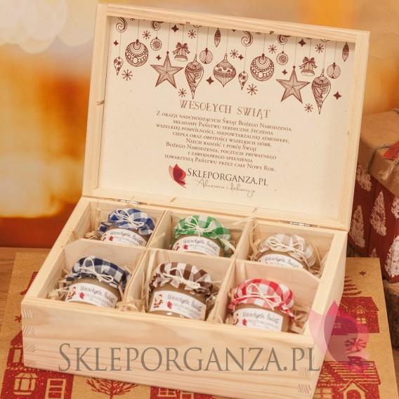 Upominki świąteczne Świąteczny zestaw z miodami w szkatułce KRATKA – średni - personalizacja