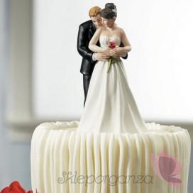 Porcelanowa figurka na tort - Para z różą
