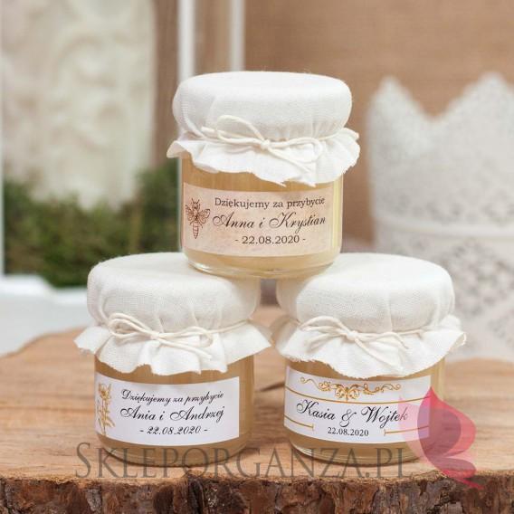 Miodziki weselne personalizowane Podziękowanie dla gości - miód - personalizacja BIAŁY