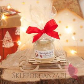 Zimowy zestaw miód na sankach mały - zestaw prezentowy - personalizacja