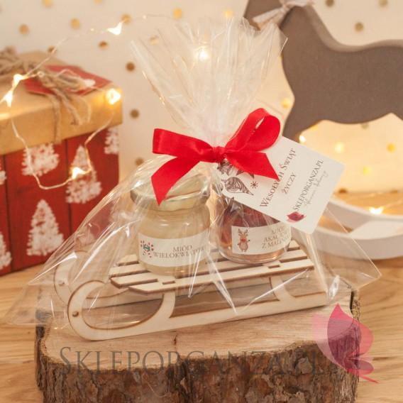 Upominki świąteczne - Zimowy zestaw miodów na sankach średni