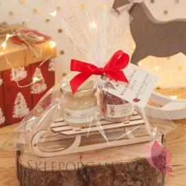 Zimowy zestaw miodów na sankach średni - zestaw świąteczny - personalizacja