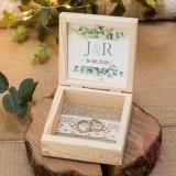 EUKALIPTUS na ślub Drewniane, kwadratowe pudełko na obrączki - personalizacja kolekcja ślubna EUKALIPTUS