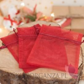 Kolekcja Święta Skandynawskie Świąteczny woreczek z organzy czerwony 10cm x 12cm