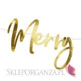Dekoracje wiszące na Święta -Baner Merry Christmas, złoty