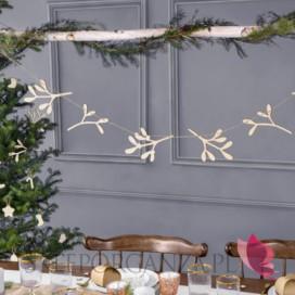 Dekoracje wiszące na Święta -Drewniana girlanda jemioła
