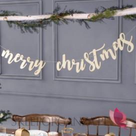 Dekoracje wiszące na Święta -Drewniany baner Merry Christmas
