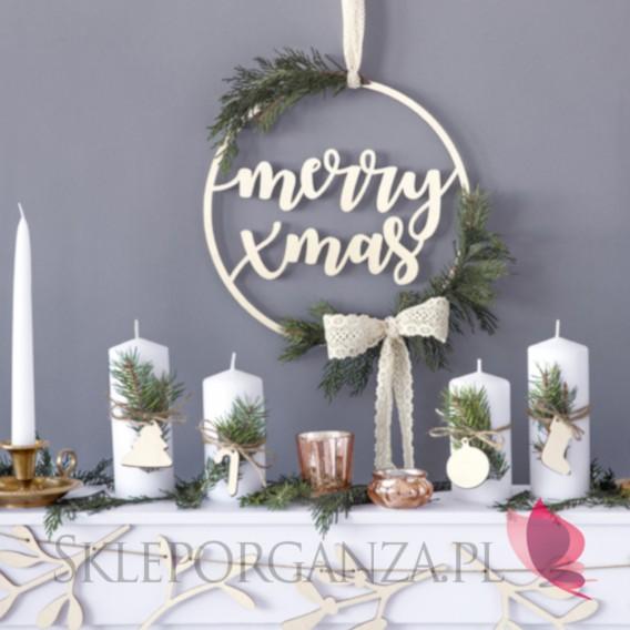 Dekoracje wiszące na Święta -Dekoracyjna zawieszka z drewna - Merry Xmas