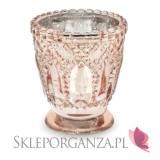Rose Gold Świecznik ozdobny, różowe złoto 8cm, 4szt