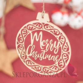 Kolekcja Natural Christmas Dekoracja drewniana bombka - Merry Christmas