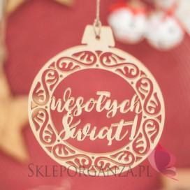 Kolekcja Natural Christmas Dekoracja drewniana bombka - Wesołych Świąt