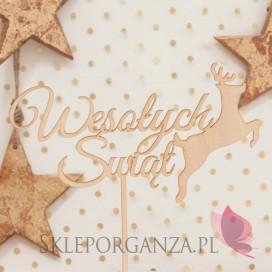 Kolekcja Natural Christmas Drewniany topper Wesołych Świąt z reniferem
