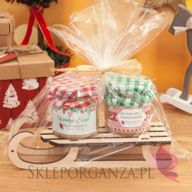 - Zimowy zestaw miodów na sankach duży - upominek świąteczny
