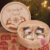 Zestawy świąteczne prezentowe z miodami Drewniane pudełko GRAWER Wesołych Świąt