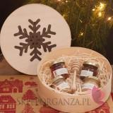 Upominki świąteczne Drewniane pudełko Śnieżynka
