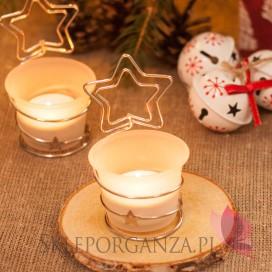 Drobne upominki świąteczne z LOGO Świecznik gwiazdka - personalizacja - ŚWIĘTA