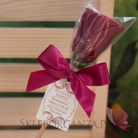 Dzień Babci i Dzień Dziadka Lizak róża metaliczna bordowa - personalizacja Dzień Babci