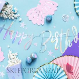 Kolekcja Narwal - PODWODNA KRAINA urodzinowa -Baner Happy Birthday perłowy