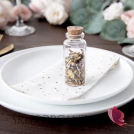Inne dekoracje Słodkiego Bufetu Buteleczka szklana z korkiem na upominek dla gości