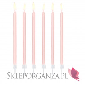 Różowy Świeczki urodzinowe gładkie, jasnoróżowe, 12szt.