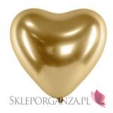 Balony chromowane na wesele Balony CHROMOWANE glossy złote Serca 30cm, 6 sztuk